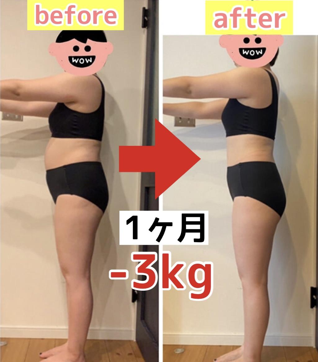 【1ヶ月でー3kg 】お腹周り激変!忙しくても、食べて痩せるということを実感!